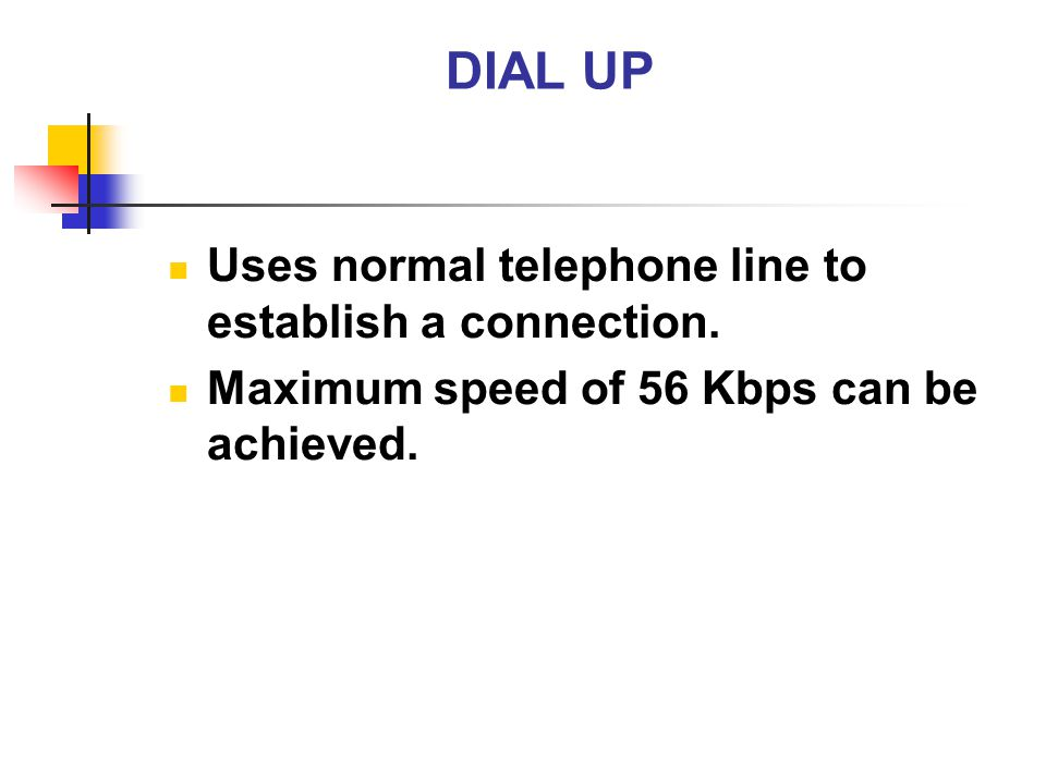 DIAL UP Uses normal telephone line to establish a connection. Maximum speed of 56 Kbps can be achieved.