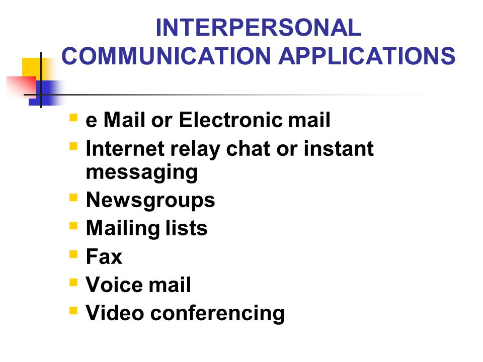 INTERPERSONAL COMMUNICATION APPLICATIONS  e Mail or Electronic mail  Internet relay chat or instant messaging  Newsgroups  Mailing lists  Fax  V