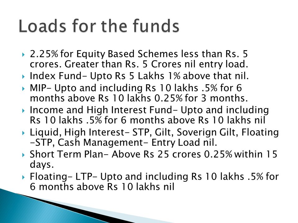  2.25% for Equity Based Schemes less than Rs. 5 crores.