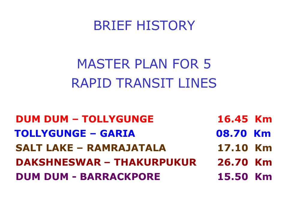 NORTH-SOUTH AXIS i.e.DUM DUM TO TOLLYGUNGE 16.45 KMS.