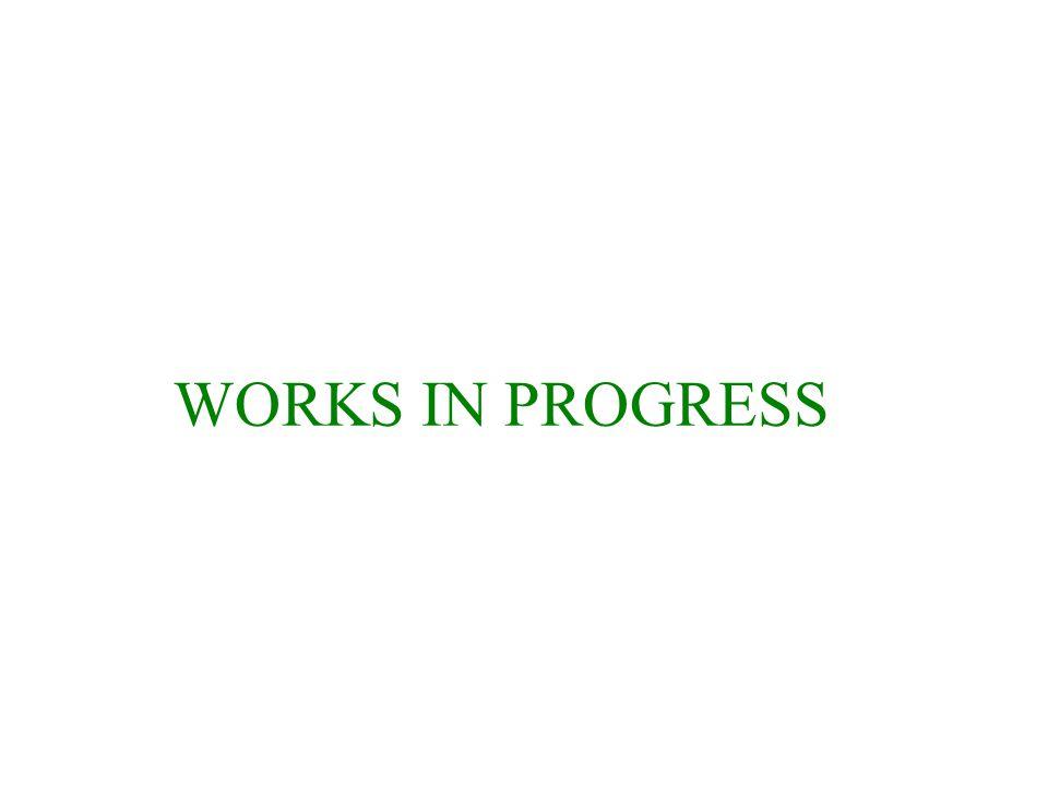 WORKS IN PROGRESS
