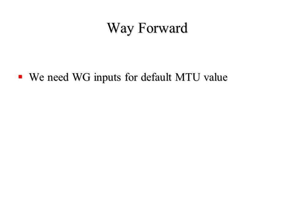 Way Forward  We need WG inputs for default MTU value