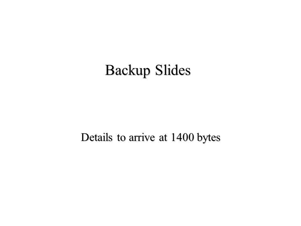 Backup Slides Details to arrive at 1400 bytes