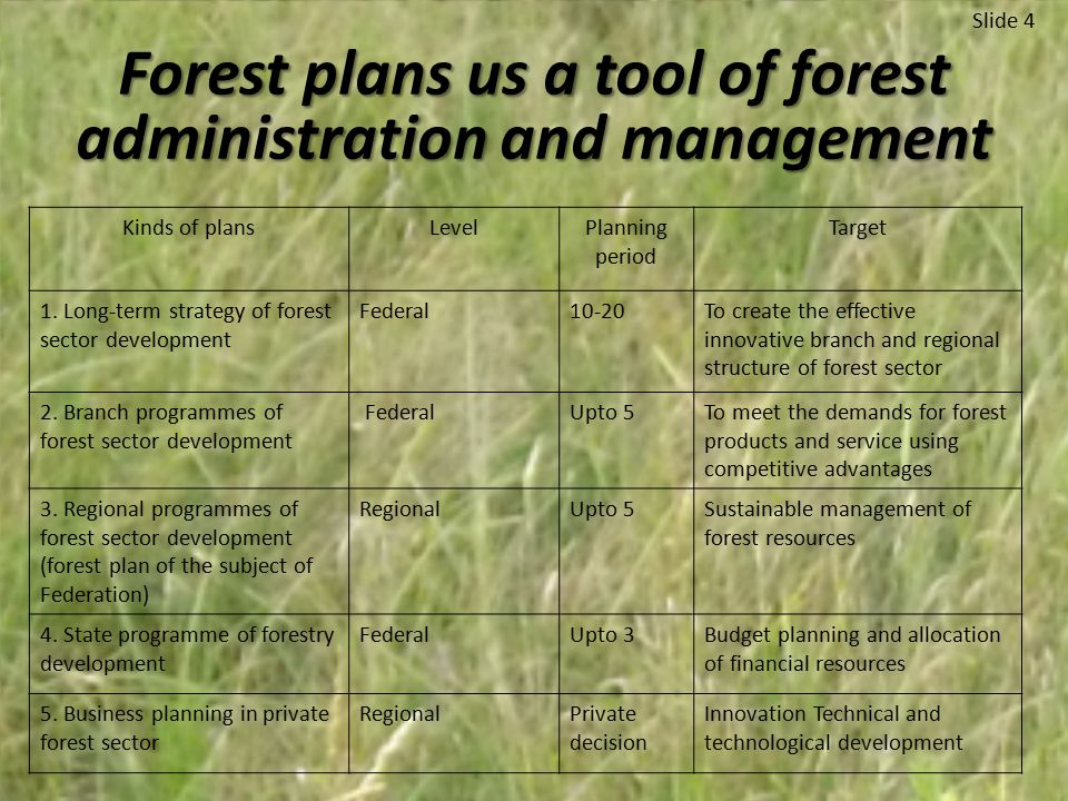 Forest plans us a tool of forest administration and management Slide 4 Kinds of plansLevelPlanning period Target 1.