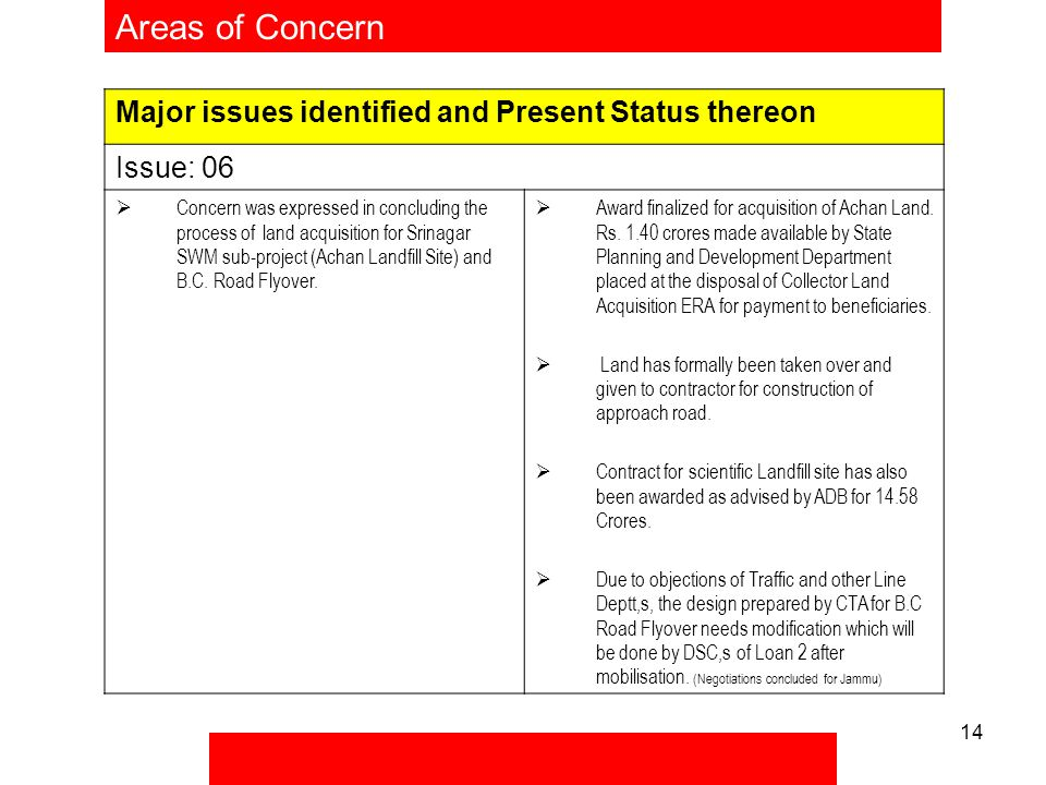 14 Areas of Concern Major issues identified and Present Status thereon Issue: 06  Concern was expressed in concluding the process of land acquisition for Srinagar SWM sub-project (Achan Landfill Site) and B.C.