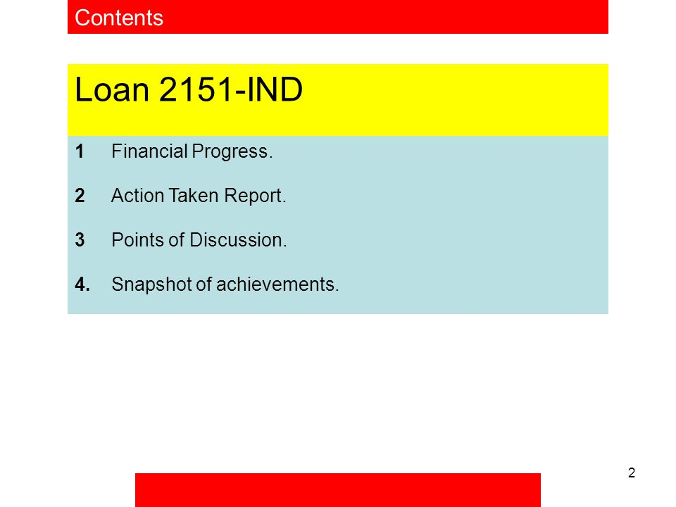 2 Contents Loan 2151-IND 1Financial Progress. 2Action Taken Report.