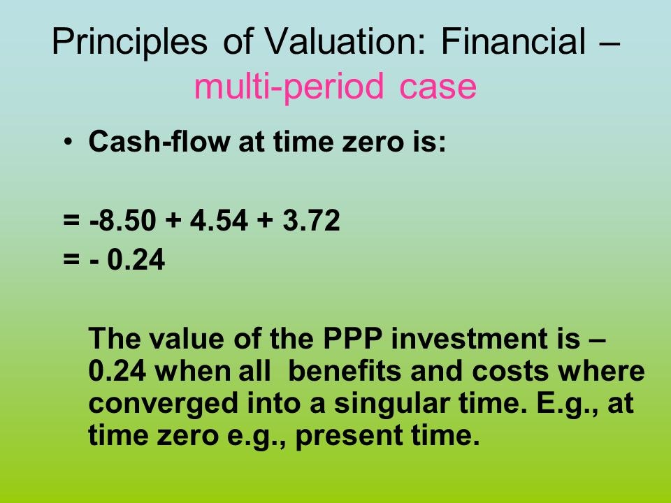 Principles of Valuation: Financial – multi-period case Cash-flow at time zero is: = -8.50 + 4.54 + 3.72 = - 0.24 The value of the PPP investment is –