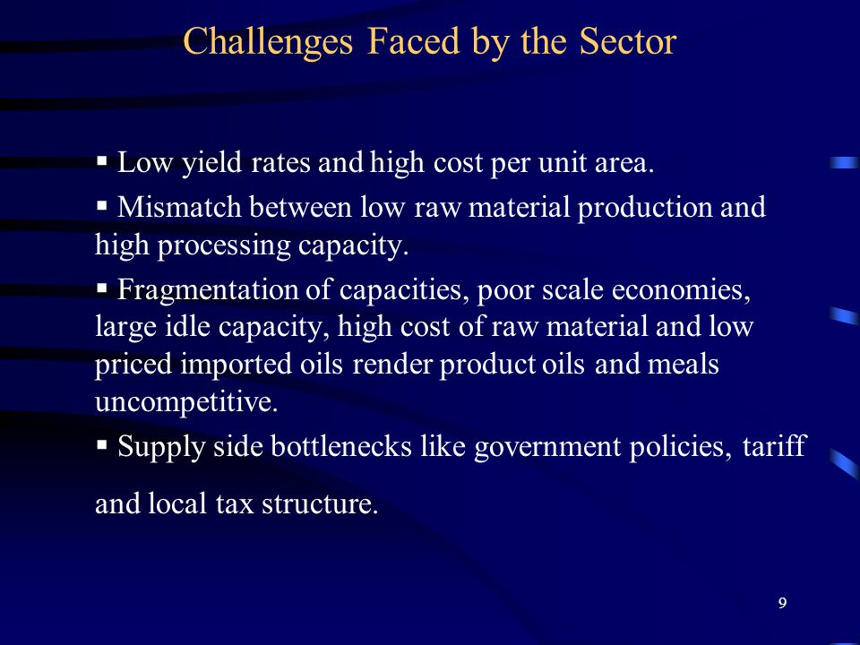 9 Challenges Faced by the Sector  Low yield rates and high cost per unit area.