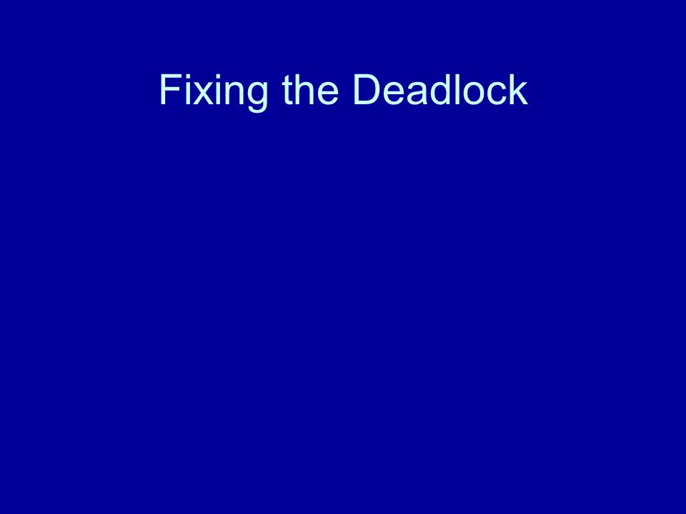 Fixing the Deadlock