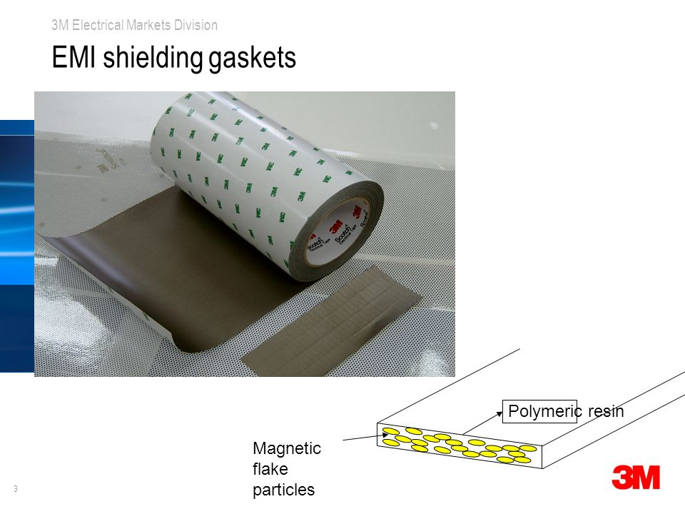 3 3M Electrical Markets Division EMI shielding gaskets Magnetic flake particles Polymeric resin