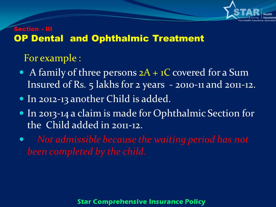 Section - III OP Dental and Ophthalmic Treatment For example : A family of three persons 2A + 1C covered for a Sum Insured of Rs.