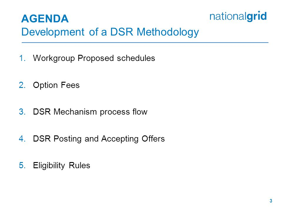 3 AGENDA Development of a DSR Methodology 1.Workgroup Proposed schedules 2.Option Fees 3.DSR Mechanism process flow 4.DSR Posting and Accepting Offers 5.Eligibility Rules