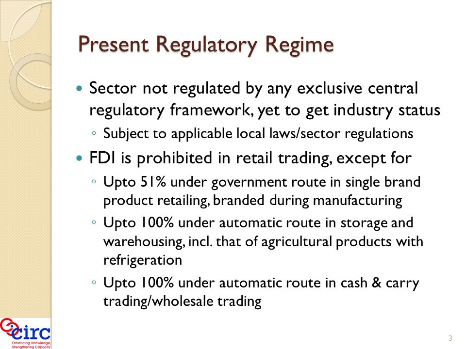 Regulatory Issues/concerns Analysis of the applicable laws and sector regulations, incl.
