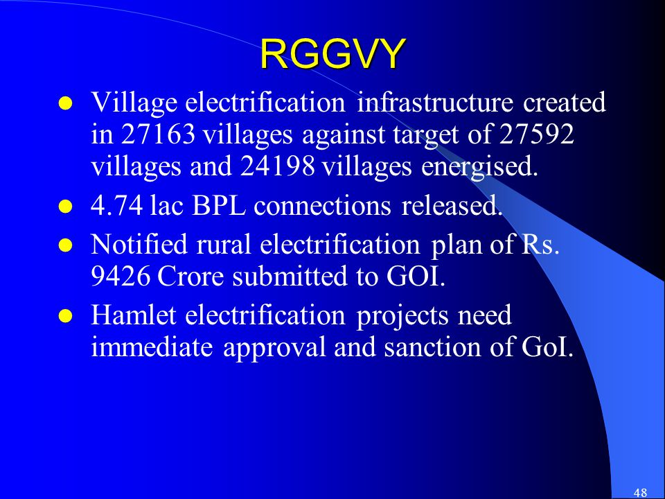 48 RGGVY Village electrification infrastructure created in 27163 villages against target of 27592 villages and 24198 villages energised.