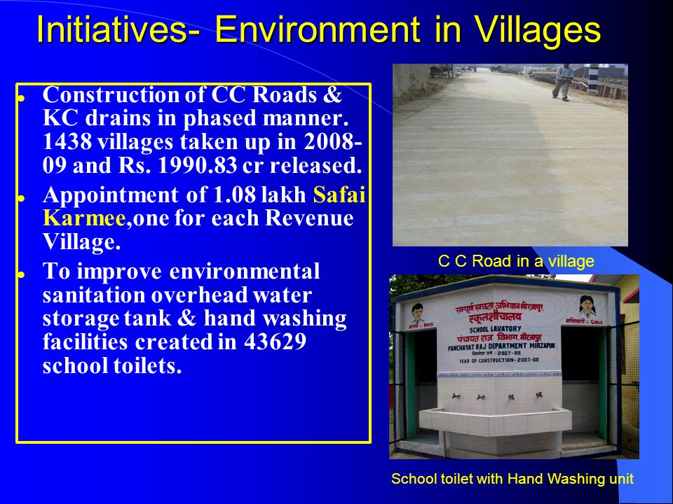 Initiatives- Environment in Villages Construction of CC Roads & KC drains in phased manner. 1438 villages taken up in 2008- 09 and Rs. 1990.83 cr rele