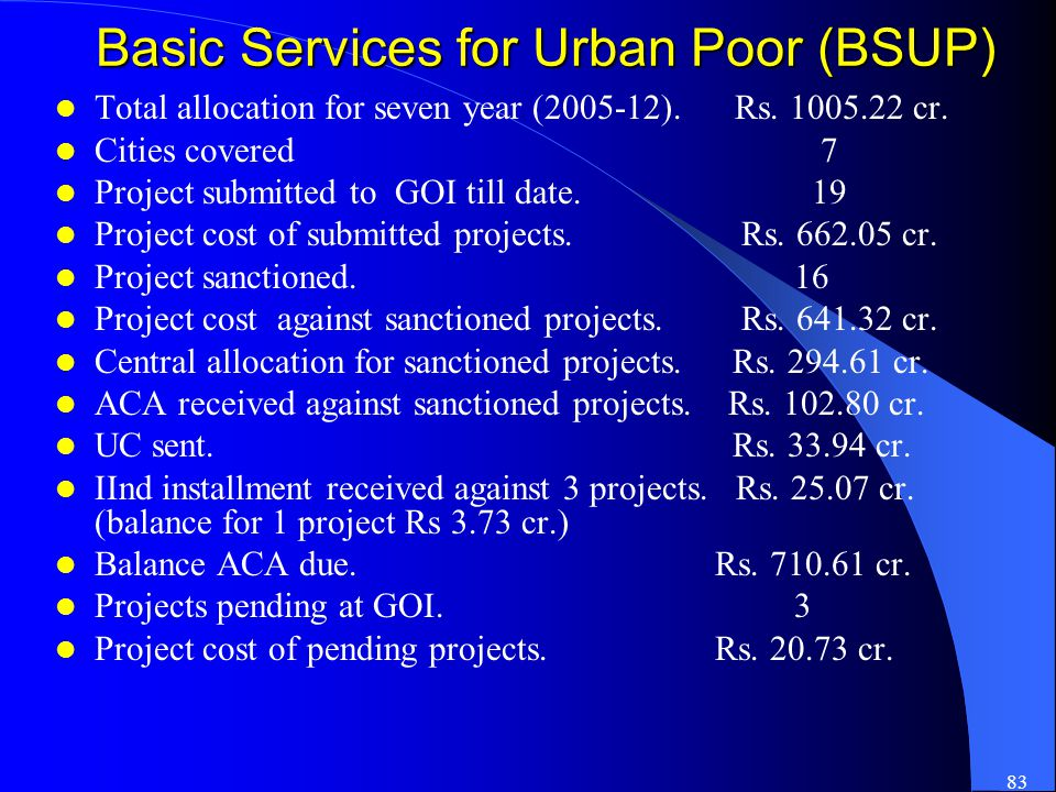 83 Basic Services for Urban Poor (BSUP) Total allocation for seven year (2005-12). Rs. 1005.22 cr. Cities covered 7 Project submitted to GOI till date