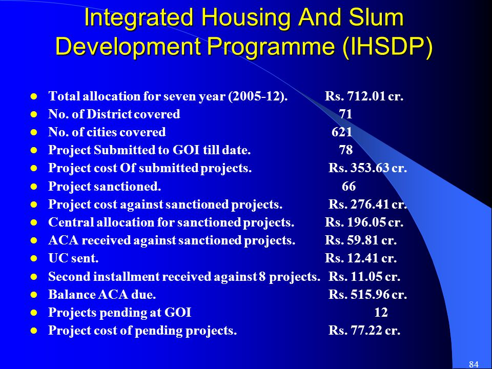 84 Integrated Housing And Slum Development Programme (IHSDP) Total allocation for seven year (2005-12).