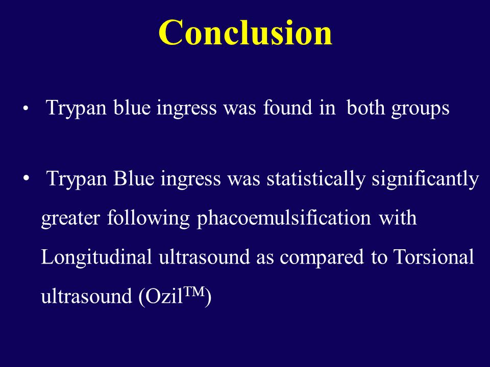 Conclusion Trypan blue ingress was found in both groups Trypan Blue ingress was statistically significantly greater following phacoemulsification with Longitudinal ultrasound as compared to Torsional ultrasound (Ozil TM )