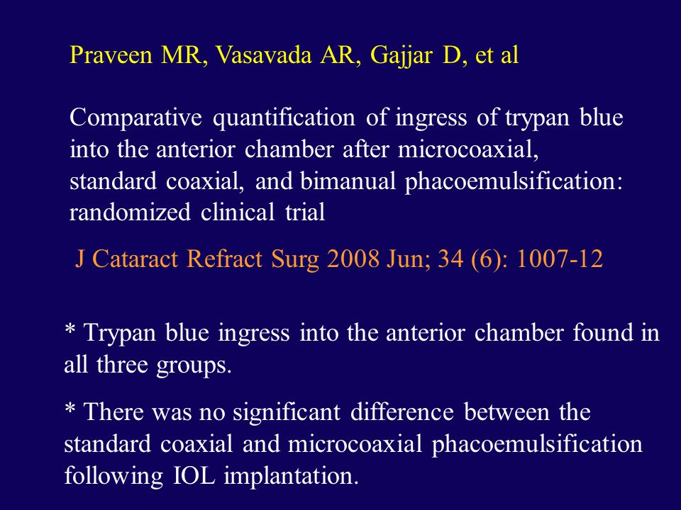 Praveen MR, Vasavada AR, Gajjar D, et al Comparative quantification of ingress of trypan blue into the anterior chamber after microcoaxial, standard coaxial, and bimanual phacoemulsification: randomized clinical trial J Cataract Refract Surg 2008 Jun; 34 (6): 1007-12 * Trypan blue ingress into the anterior chamber found in all three groups.