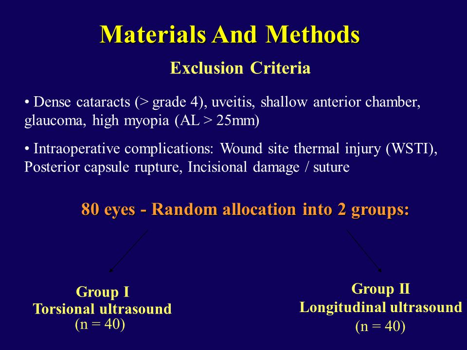 80 eyes - Random allocation into 2 groups: Group I Torsional ultrasound (n = 40) Group II Longitudinal ultrasound (n = 40) Exclusion Criteria Dense cataracts (> grade 4), uveitis, shallow anterior chamber, glaucoma, high myopia (AL > 25mm) Intraoperative complications: Wound site thermal injury (WSTI), Posterior capsule rupture, Incisional damage / suture Materials And Methods