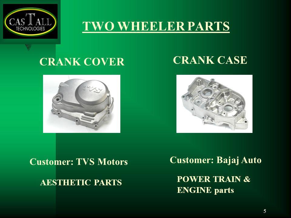 5 CRANK COVER AESTHETIC PARTS POWER TRAIN & ENGINE parts CRANK CASE TWO WHEELER PARTS Customer: TVS Motors Customer: Bajaj Auto