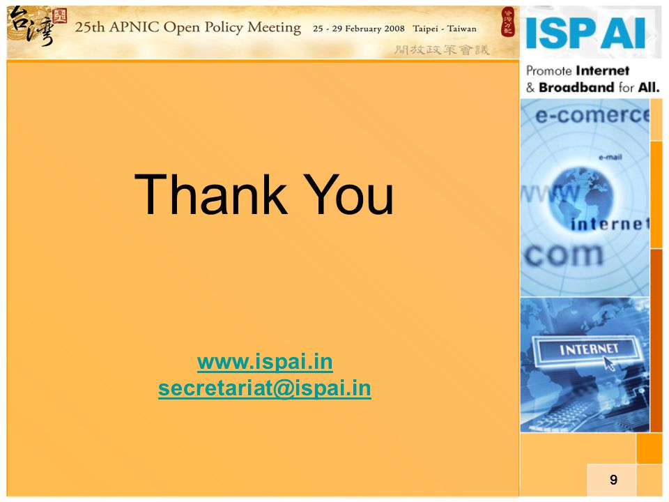9 Thank You www.ispai.in secretariat@ispai.in