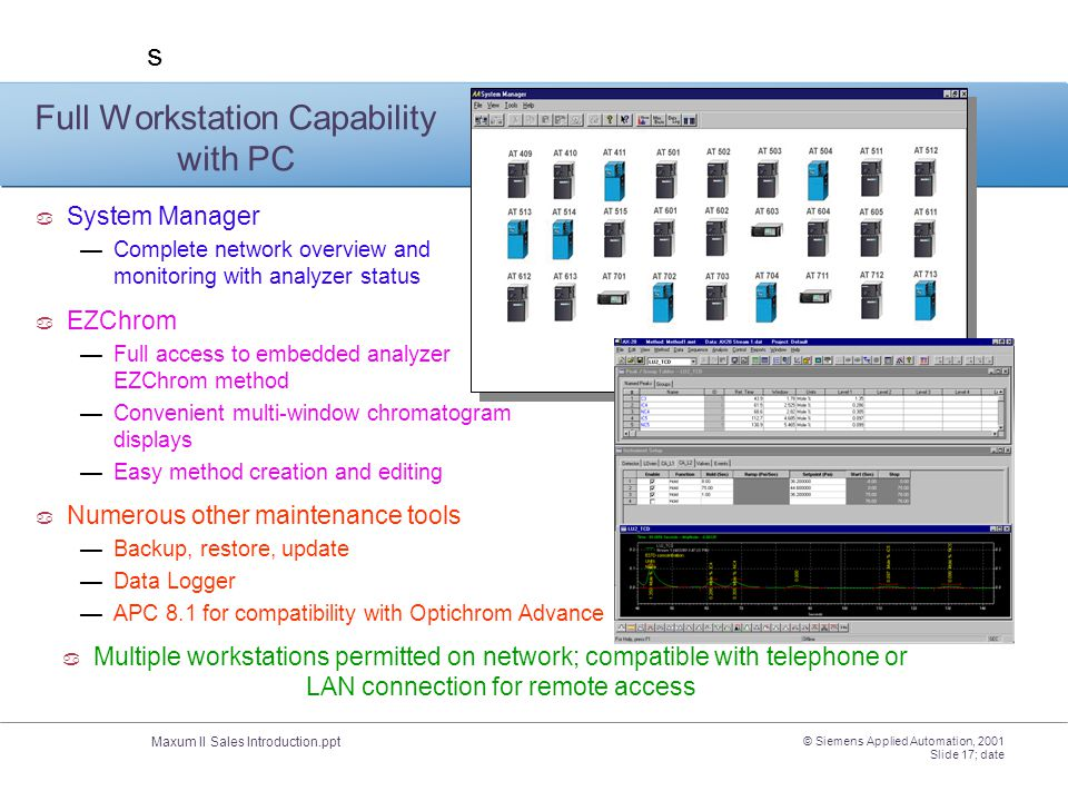 Maxum II Sales Introduction.ppt s © Siemens Applied Automation, 2001 Slide 17; date Full Workstation Capability with PC  System Manager —Complete net