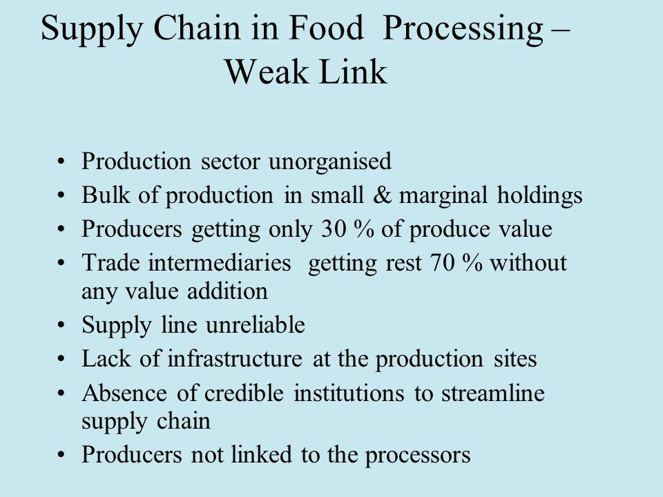 Supply Chain in Food Processing – Weak Link Production sector unorganised Bulk of production in small & marginal holdings Producers getting only 30 % of produce value Trade intermediaries getting rest 70 % without any value addition Supply line unreliable Lack of infrastructure at the production sites Absence of credible institutions to streamline supply chain Producers not linked to the processors