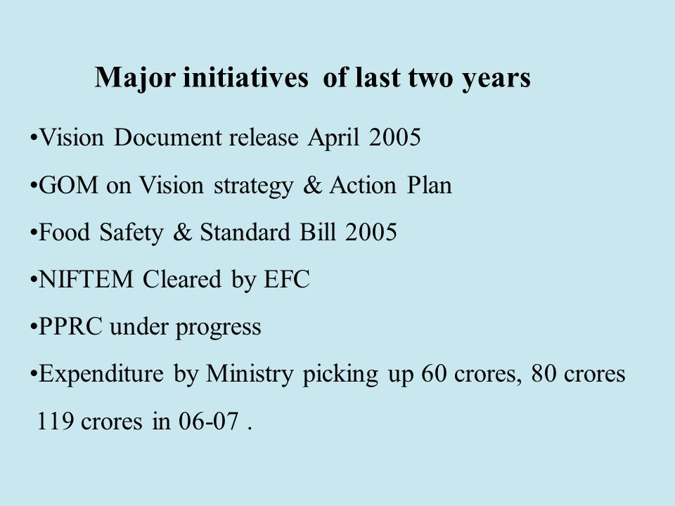 Major initiatives of last two years Vision Document release April 2005 GOM on Vision strategy & Action Plan Food Safety & Standard Bill 2005 NIFTEM Cleared by EFC PPRC under progress Expenditure by Ministry picking up 60 crores, 80 crores 119 crores in 06-07.