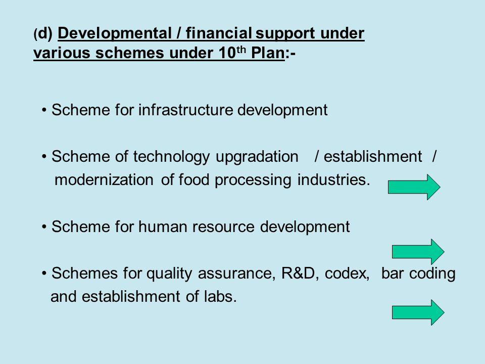 ( d) Developmental / financial support under various schemes under 10 th Plan:- Scheme for infrastructure development Scheme of technology upgradation / establishment / modernization of food processing industries.