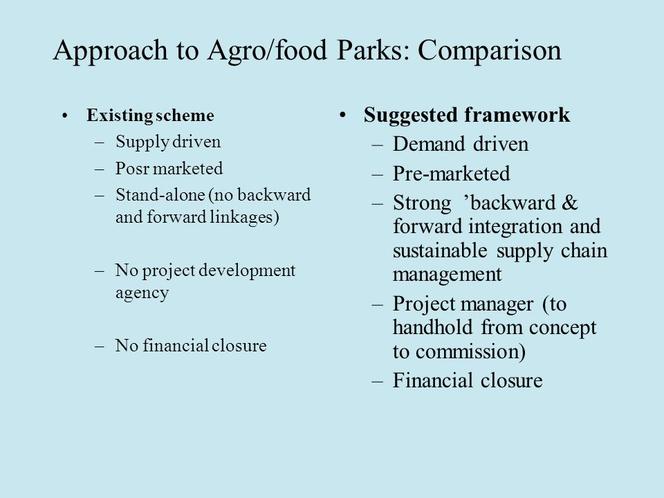 Approach to Agro/food Parks: Comparison Existing scheme –Supply driven –Posr marketed –Stand-alone (no backward and forward linkages) –No project development agency –No financial closure Suggested framework –Demand driven –Pre-marketed –Strong 'backward & forward integration and sustainable supply chain management –Project manager (to handhold from concept to commission) –Financial closure