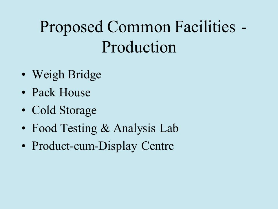 Proposed Common Facilities - Production Weigh Bridge Pack House Cold Storage Food Testing & Analysis Lab Product-cum-Display Centre