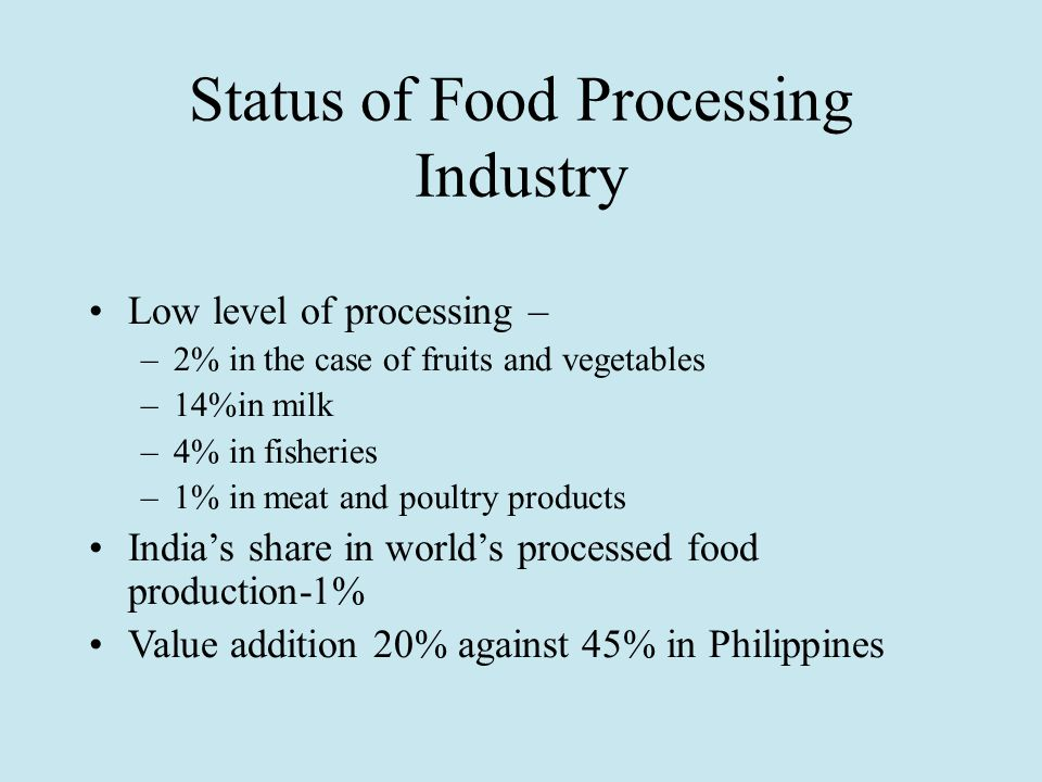 Status of Food Processing Industry Low level of processing – –2% in the case of fruits and vegetables –14%in milk –4% in fisheries –1% in meat and poultry products India's share in world's processed food production-1% Value addition 20% against 45% in Philippines