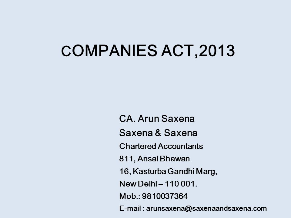 C OMPANIES ACT,2013 CA.