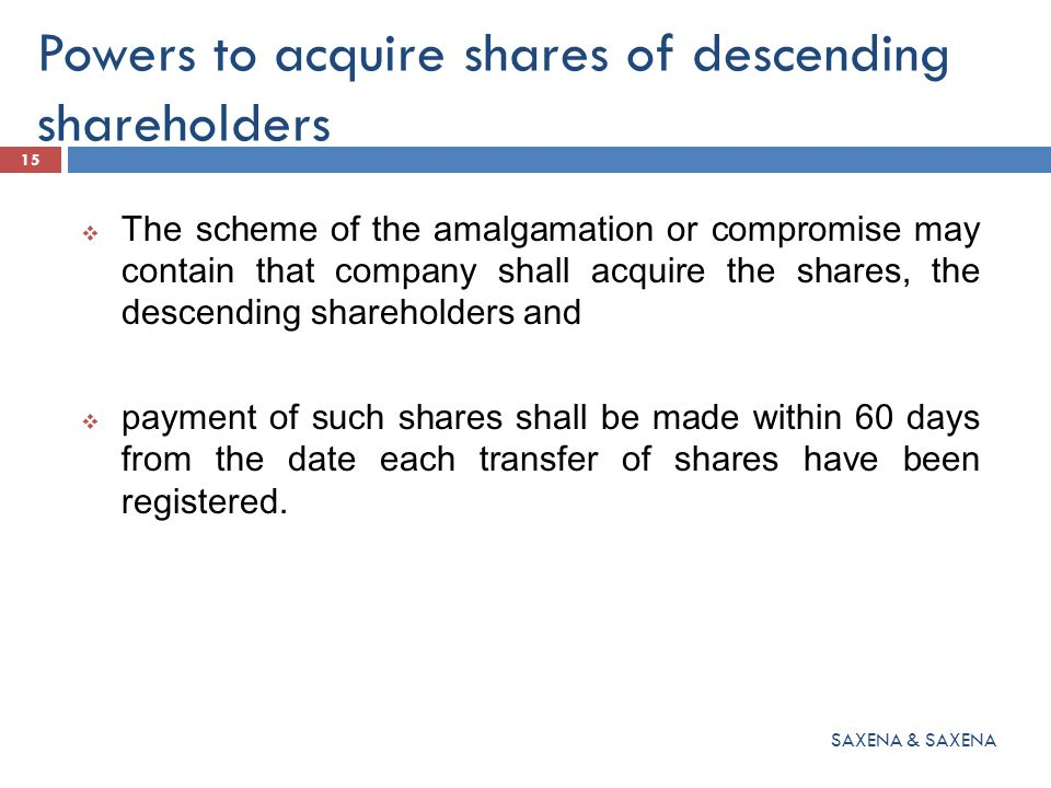 Powers to acquire shares of descending shareholders  The scheme of the amalgamation or compromise may contain that company shall acquire the shares, the descending shareholders and  payment of such shares shall be made within 60 days from the date each transfer of shares have been registered.