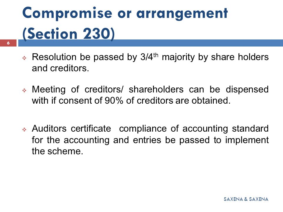  Resolution be passed by 3/4 th majority by share holders and creditors.