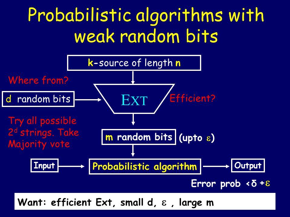 Probabilistic algorithms with weak random bits k-source of length n m random bits E XT d random bits Probabilistic algorithm Input (upto  ) Output Er