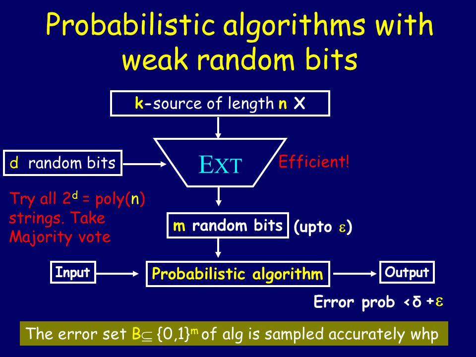 Probabilistic algorithms with weak random bits k-source of length n X m random bits E XT d random bits Probabilistic algorithm Input (upto  ) Output