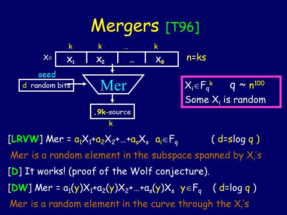 Mergers [T96] d random bits seed Mer X 1 X 2 … X S. 9k-source X= n=ks k k … k k X i  F q k q ~ n 100 Some X i is random [LRVW] Mer = a 1 X 1 +a 2 X 2