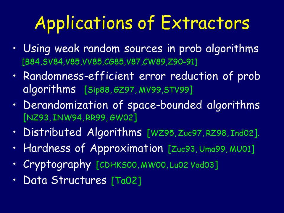 Unifying Role of Extractors Extractors are intimately related to: Hash Functions [ILL89,SZ94,GW94] Expander Graphs [NZ93, WZ93, GW94, RVW00, TUZ01, CRVW02] Samplers [G97, Z97] Pseudorandom Generators [Trevisan 99, …] Error-Correcting Codes [T99, TZ01, TZS01, SU01, U02]  Unify the theory of pseudorandomness.