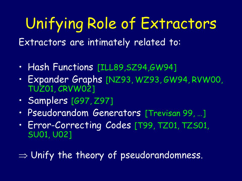 Unifying Role of Extractors Extractors are intimately related to: Hash Functions [ILL89,SZ94,GW94] Expander Graphs [NZ93, WZ93, GW94, RVW00, TUZ01, CRVW02] Samplers [G97, Z97] Pseudorandom Generators [Trevisan 99, …] Error-Correcting Codes [T99, TZ01, TZS01, SU01, U02]  Unify the theory of pseudorandomness.