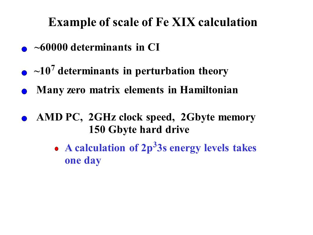 Example of scale of Fe XIX calculation ~60000 determinants in CI ~10 7 determinants in perturbation theory Many zero matrix elements in Hamiltonian AMD PC, 2GHz clock speed, 2Gbyte memory 150 Gbyte hard drive A calculation of 2p 3 3s energy levels takes one day