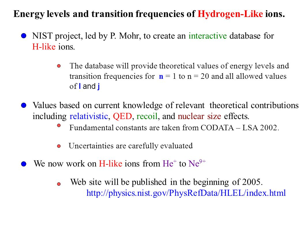Energy levels and transition frequencies of Hydrogen-Like ions.