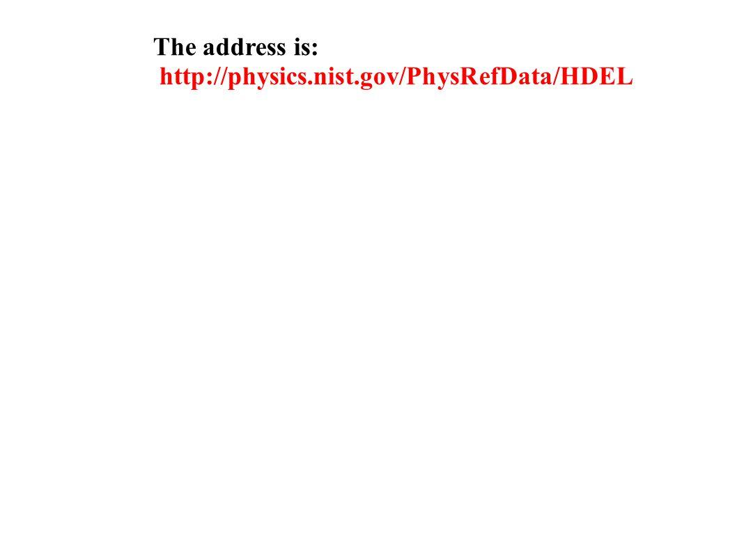 The address is: http://physics.nist.gov/PhysRefData/HDEL