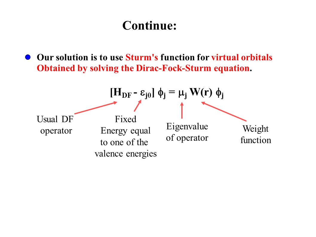 Our solution is to use Sturm s function for virtual orbitals Obtained by solving the Dirac-Fock-Sturm equation.
