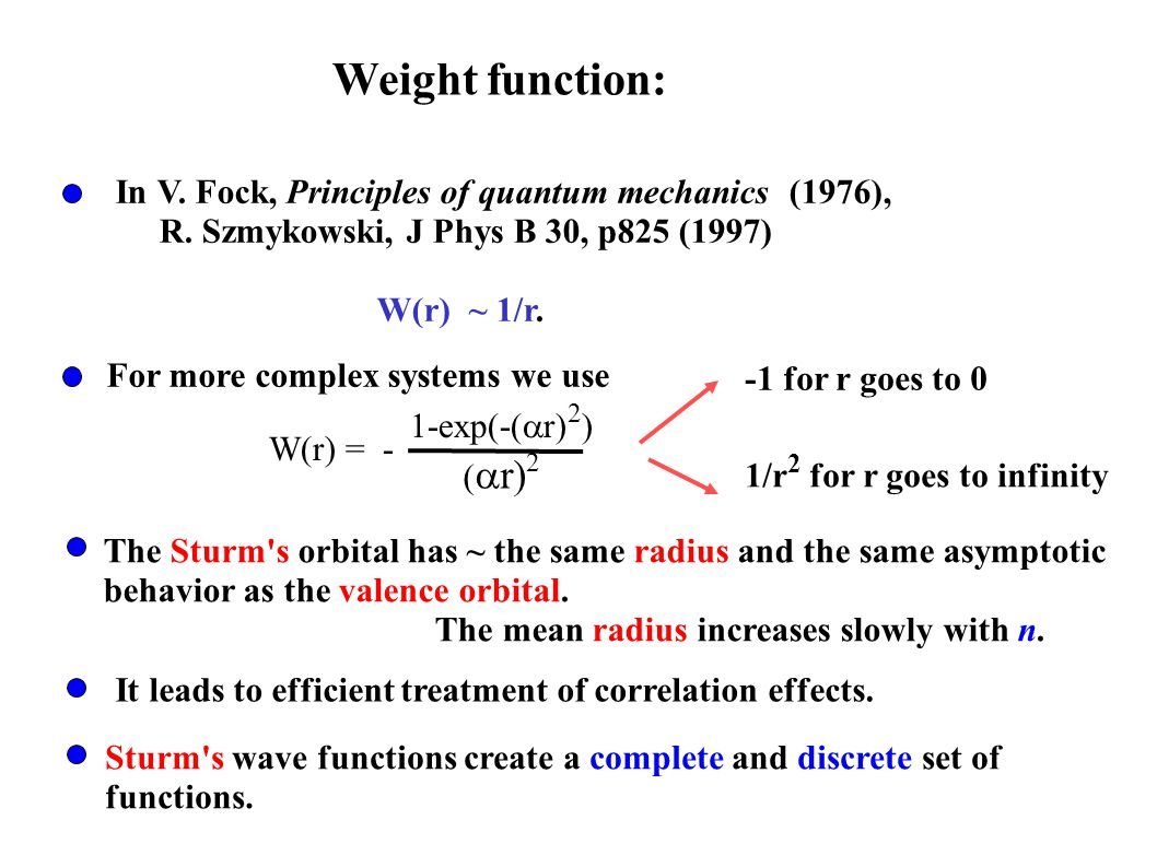 The Sturm's orbital has ~ the same radius and the same asymptotic behavior as the valence orbital. The mean radius increases slowly with n. It leads t