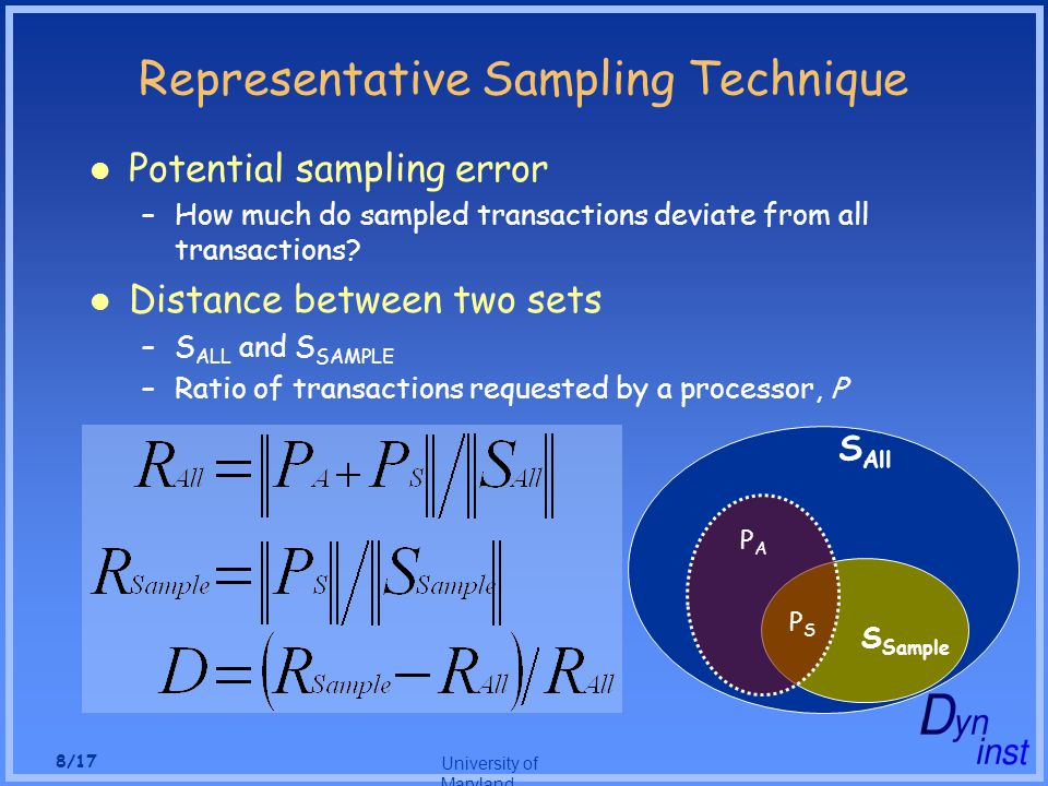 University of Maryland 8/17 Representative Sampling Technique Potential sampling error –How much do sampled transactions deviate from all transactions.