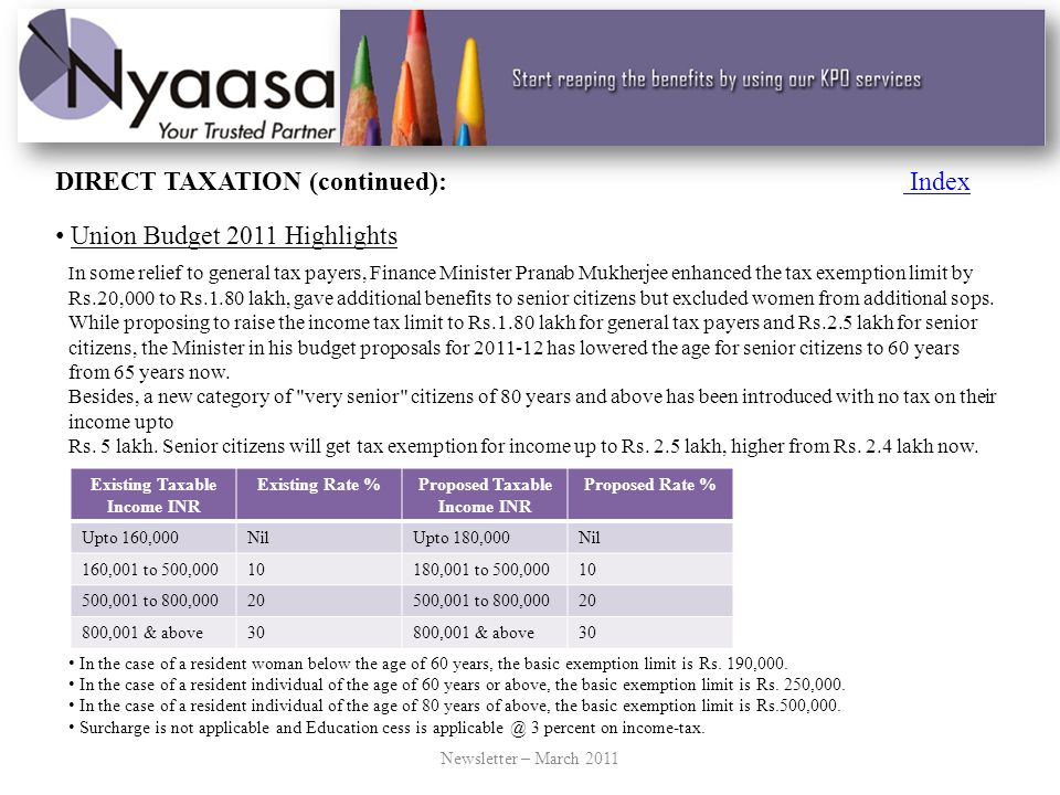 INDIRECT TAXATION IndexIndex Union Budget 2011 Highlights The Union Budget for 2011-2012 was presented by the Finance Minister Mr.