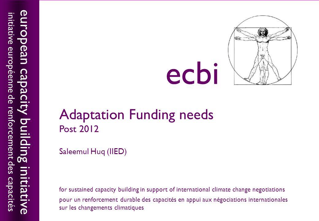 european capacity building initiativeecbi Adaptation Funding needs Post 2012 Saleemul Huq (IIED) european capacity building initiative initiative euro