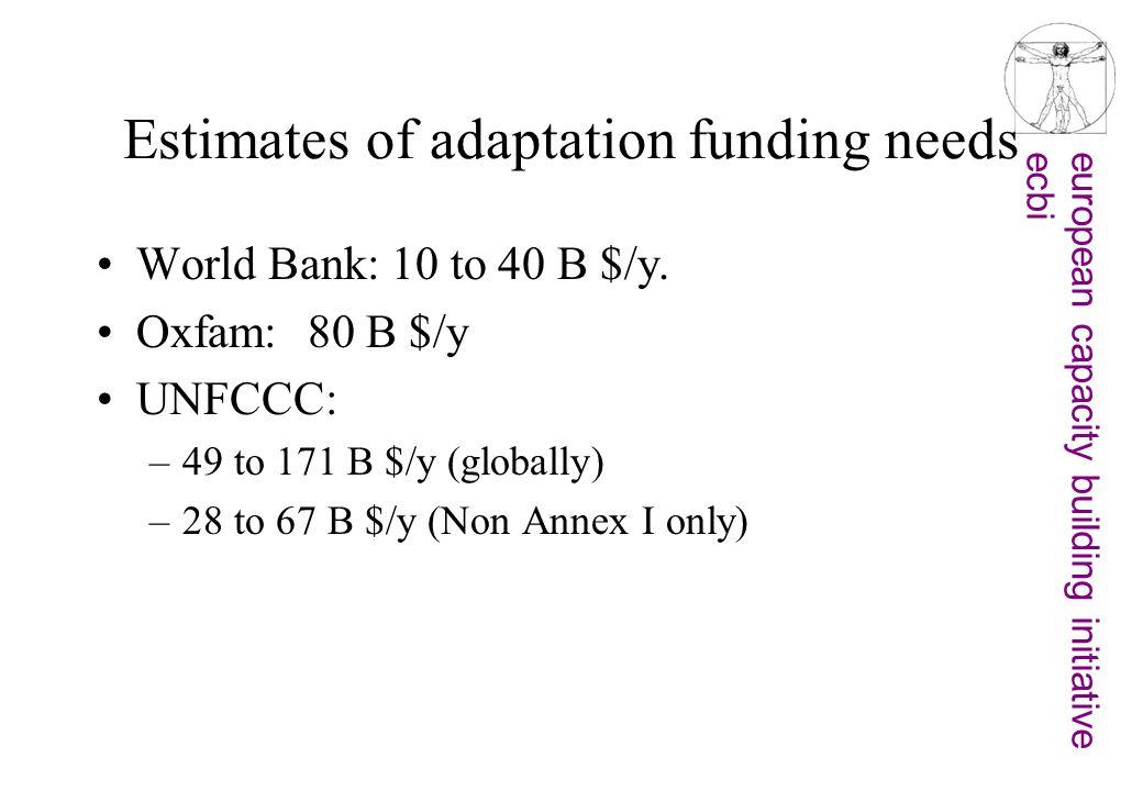 european capacity building initiativeecbi Estimates of adaptation funding needs World Bank: 10 to 40 B $/y. Oxfam: 80 B $/y UNFCCC: –49 to 171 B $/y (